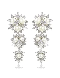 Ever Faith Silver-Tone Bridal Flower Snowflake Simulated Pearl Earrings Clear Austrian Crystal N00083-2