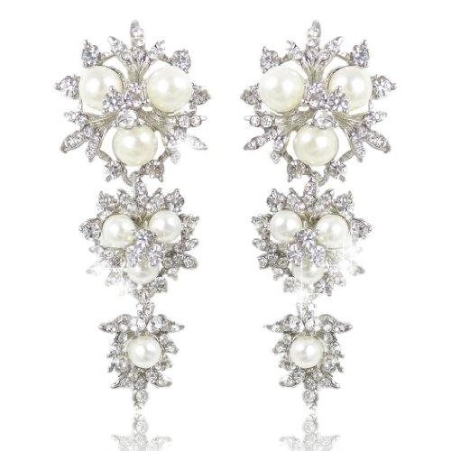 EVER FAITH Austrian Crystal Simulated Pearl Bridal Flower Snowflake Earrings Clear Silver-Tone -