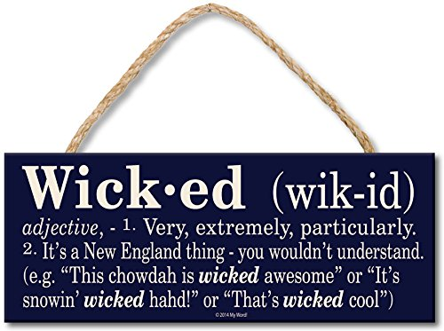 Wicked Definition  - 4x10 Hanging Wooden Sign by My Word!