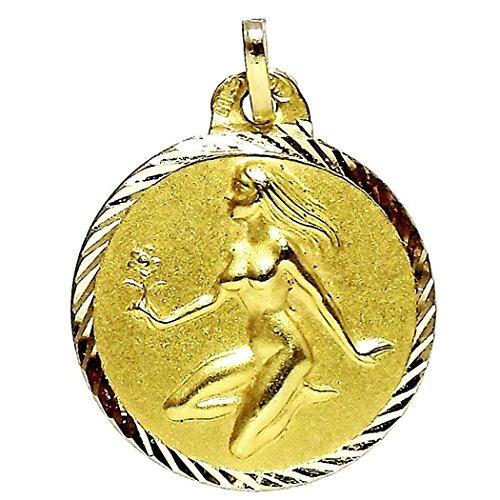 Pendentif Vierge or horoscope 18k médaille [87GR] - personnalisable - ENREGISTREMENT inclus dans le prix