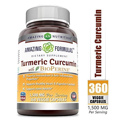 Amazing Formulas Turmeric Curcumin BioPerine - 1500 Mg Per Serving, Veggie Capsules (360 Veggie Capsules) -Powerful Antioxidant & AntiInflammatory Properties - Supports Healthy Heart.