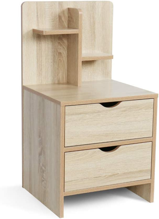 YOURLITE Wood End Table with Storage Shelf 2 Drawers Nightstand Side Table Cabinet Bedside Furniture for Bedroom, Home (Wood Color)
