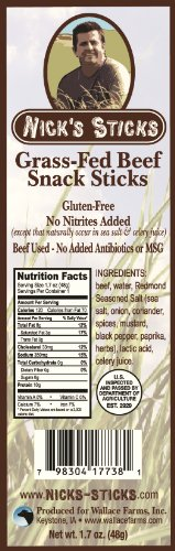 Nick's Sticks 100% Grass-Fed Beef Snack Sticks - Gluten Free - No Antibiotics or Hormones (25 packages of 2 sticks)