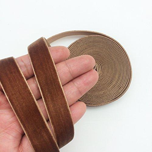 PEPPERLONELY 5 Yards Single Face Velvet Ribbon 16mm (5/8 Inch), Brown