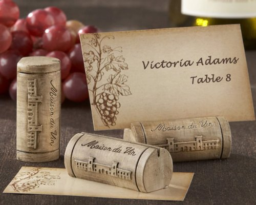 ''Maison du Vin'' Wine Cork Place Card/Photo Holder with Grape-Themed Place Cards (Set of 288) - Baby Shower Gifts & Wedding Favors