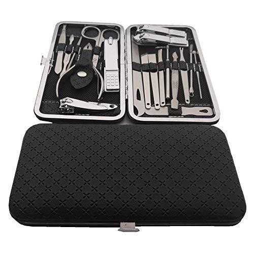 ESC Luxury 19 in one Beauty manicure Nail Clipper kit set Stainless Steel Popular Gifts for Men & Women Black
