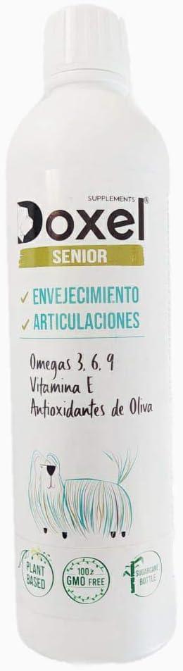 Doxel Senior-500ml Aceite para Perros Mayores| Suplemento| Antiinflamatorio| Antienvejecimiento Articulaciones sanas| Sistema inmunitario| Ácidos grasos Omega 3 6 9| Vitamina E