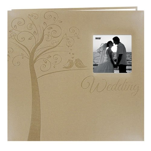 MB-10EW Postbound Embossed Leatherette Frame Cover Wedding Memory Book, 12-Inch by 12-Inch, Tree With Wedding Text ()