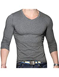 Qiyun Mens Casual Cotton Slim Muscle V Neck Long Sleeve Solid Shits Basic Tops Chemise