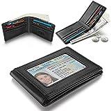 H-ANDYBAG Genuine Leather Front Pocket Wallet Minimalist Wallet Slim ID Wallet For Men (Black)