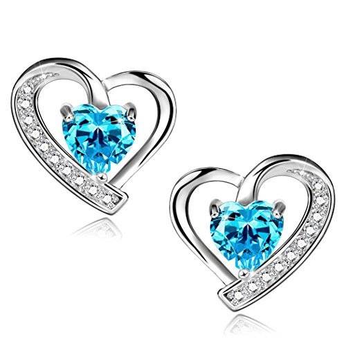 Long Way 925 Sterling Silver Earrings Blue Cubic Zirconia Heart Shaped Stud Earrings For (Silver Zircon Earrings)