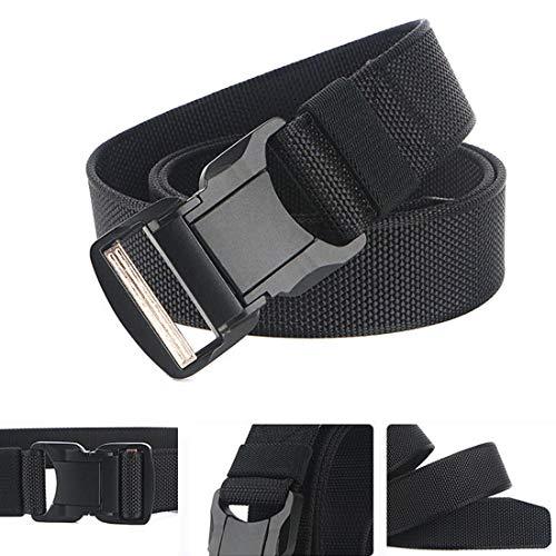 QAZSE Quick Release Nylon Tactical Belt Heavy Duty Web Belt for Men 1.5inch (Black, Large-For waist 42-46\