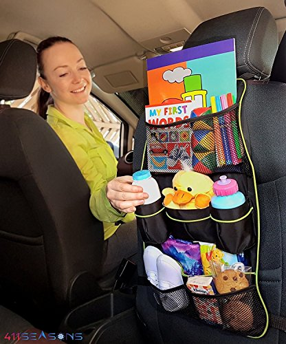 Backseat Car Organizer and Protector for Kids Back Seat Storage with *Gift Bonus* for Family Traveling