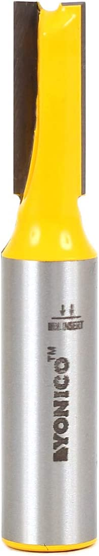 Yonico 14024 3/8-Inch Diameter X 1-Inch Height Straight Router Bit 1/2-Inch Shank