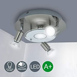 DLLT Modern Ceiling Spot Lights Fixtures 4-Light Round Flush Mount Directional Lighting, Adjustable Track Lighting Kits for Kitchen Hallway Living Room, Warm White GU10 Bulbs Included, Nickel Steel