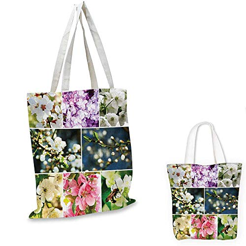 (Cherry Tree fashion shopping tote bag Spring Collage with Twiggy Cherry Blossom Sakura Trees and Jasmine Branches canvas bag shopping Multicolor. 15