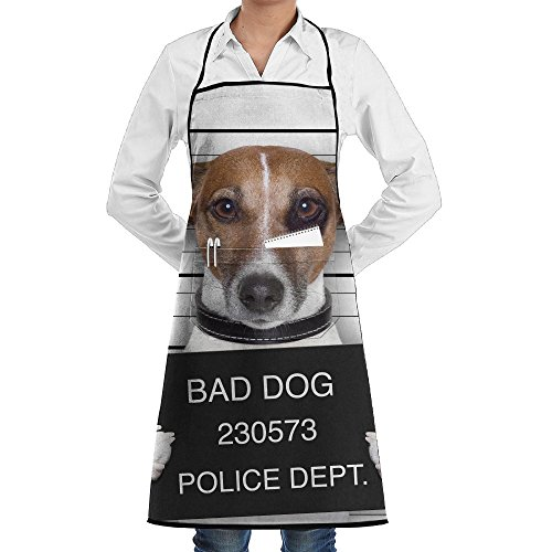 Zheuo Mugshot Of Wanted Dog Holding A Banner Grill Aprons Kitchen Chef Bib Vintage For Men Women Pockets