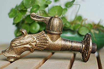 Bathroom Fixtures Dragon Animal Shape Garden Bibcock Rural Style Antique Bronze Dragon Tap With Decorative Outdoor Faucet For Garden