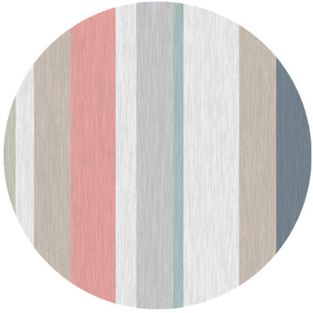 AXIANQIMat Striped Pattern Thin Carpet Round Yoga Mat Home Living Room Bedroom Mat (Color : 3, Size : 1m)