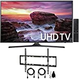 Samsung UN55MU6290FXZA Flat 54.6' LED 4K UHD 6 Series Smart TV (2017 Model) with Flat Wall Mount Kit Ultimate Bundle for 45-90 inch TVs