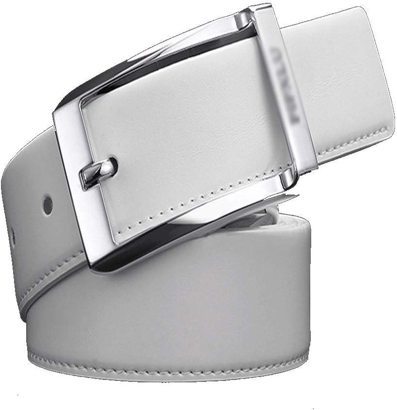 ZXF Cinturón de Negocios for Hombres Ojal isométrico Hilo de Coser Fino Cinturón de Hebilla giratoria Cinturón de Cuero de aleación de Zinc (Color : White, Size : 110CM*3.3CM)