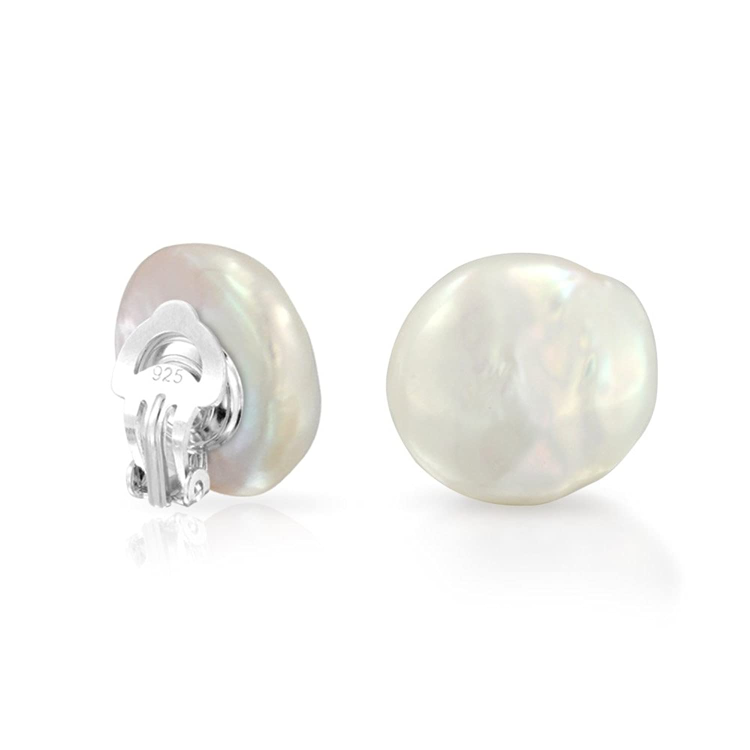 Bling Jewelry Freshwater Cultured Pearl Coin Pushback Bridal Stud earrings 925 Sterling Silver 14mm RwSofHjK