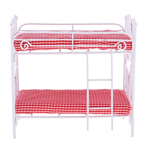 (Prettyia 1/12th Dollhouse Bedroom Furniture Fine Metal Bunk Bed with Ladder Room Scene Decor)