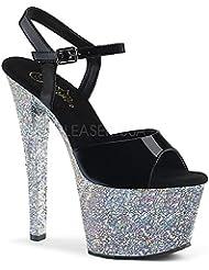 Pleaser SKY-309LG Womens Glitter Peep Toe Ankle Strap Platform High Heel Sandal
