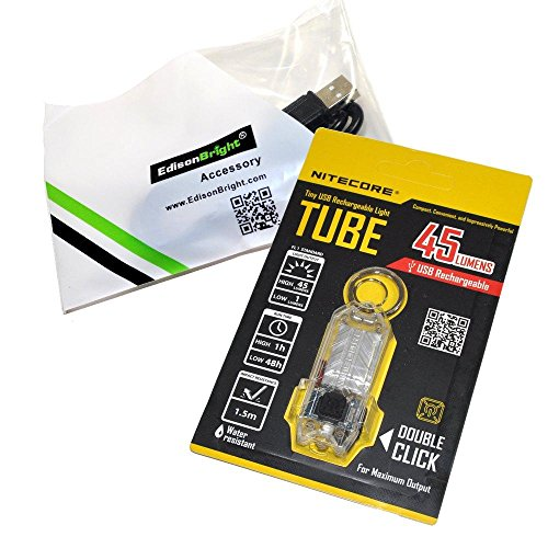EdisonBright Nitecore TUBE (clear) 45 lumen USB rechargeable LED keychain light and brand USB charging cable bundle