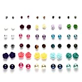 Summer Vacation Multi Pairs Ball Rose Flower Rhinestones Stud Earrings Set for Girls