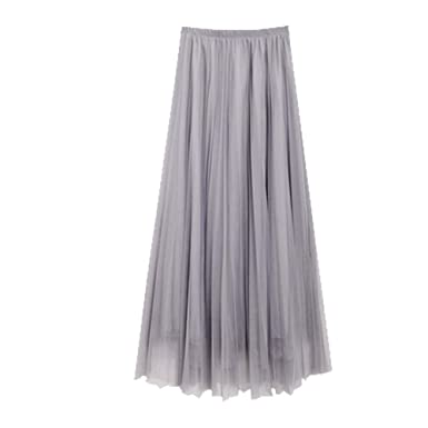 f47f238bc8 Image Unavailable. Image not available for. Color: Women's Mesh Tulle Midi  Skirt - Elastic High Waist ...