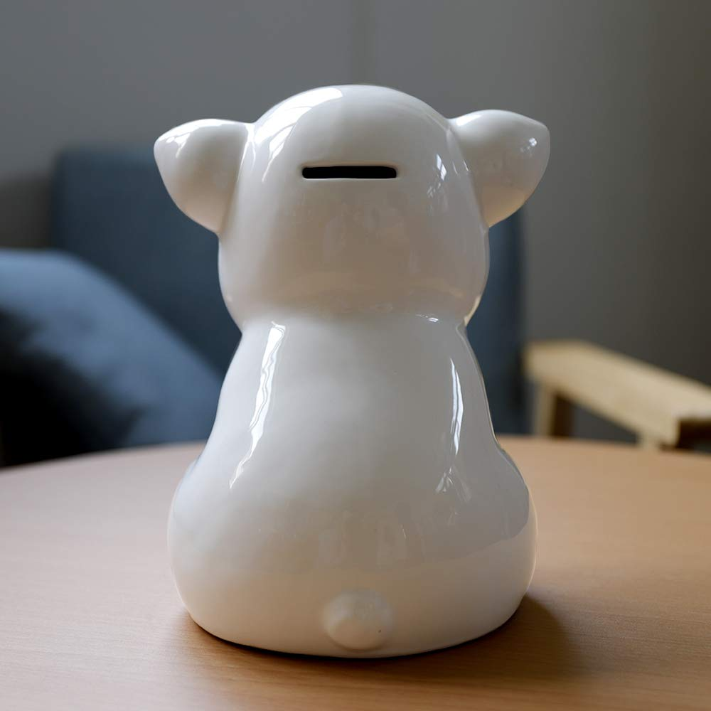 IKnow Ceramic Piggy Bank Home Decor Ornament Gift for Kids (White) by IKnow (Image #3)
