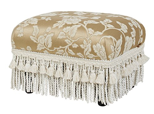 jennifer taylor home fiona collection traditional style upholstered fringed and tasseled rectangular wood framed footstool neutral