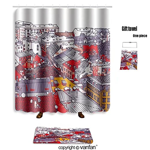 Riga Led (vanfan bath sets with Polyester rugs and shower curtain the roofs of the old town in riga latvia vect shower curtains sets bathroom 48 x 78 inches&23.6 x 15.7 inches(Free 1 towel and 12 hooks))