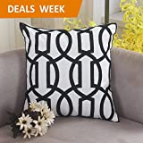 Home Brilliant Decorative Throw Pillow Lattice Wave Pattern Embroidered Patio Cushion Cover, 18x18, Black