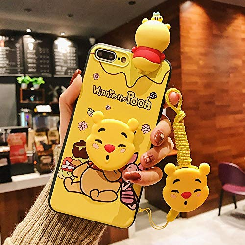 Fitted Cases - Cartoon Winnie Pooh Donald Duck Daisy Phone Case for iPhone X 8 7 6s Plus XS Max XR Soft 3D Doll Toys Stand Lanyard Back Cover - by Aquaman Store - 1 PCs
