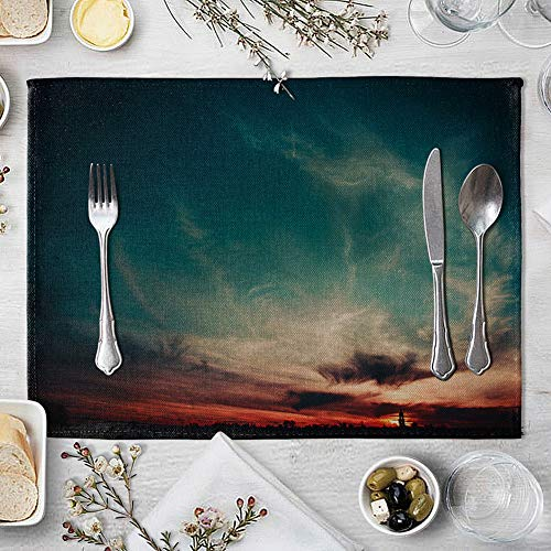 memorytime Night Starry Sky Linen Placemat Kitchen Dining Table Mat Bowl Pad Coaster Decor Kitchen Dining Supplies - 9# by memorytime (Image #7)