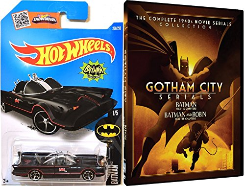 60 Mill Creek Collection (Batman: Gotham City Serials 1943 - Batman & Robin 1949 + Hot Wheels TV Series Batmobile Movie Serials Collection & Car Set)