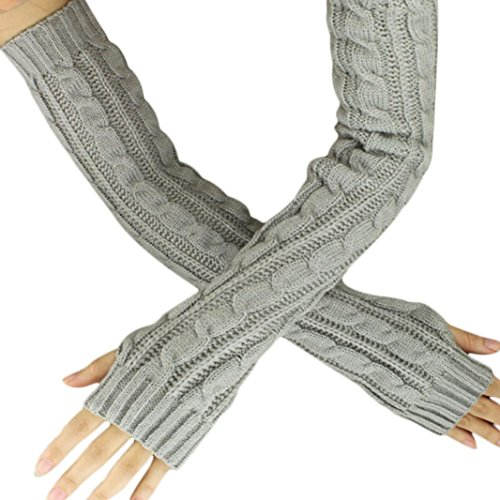 Besde Fashion Knitted Arm Fingerless Winter Gloves Unisex Soft Warm Mitten (Grey)