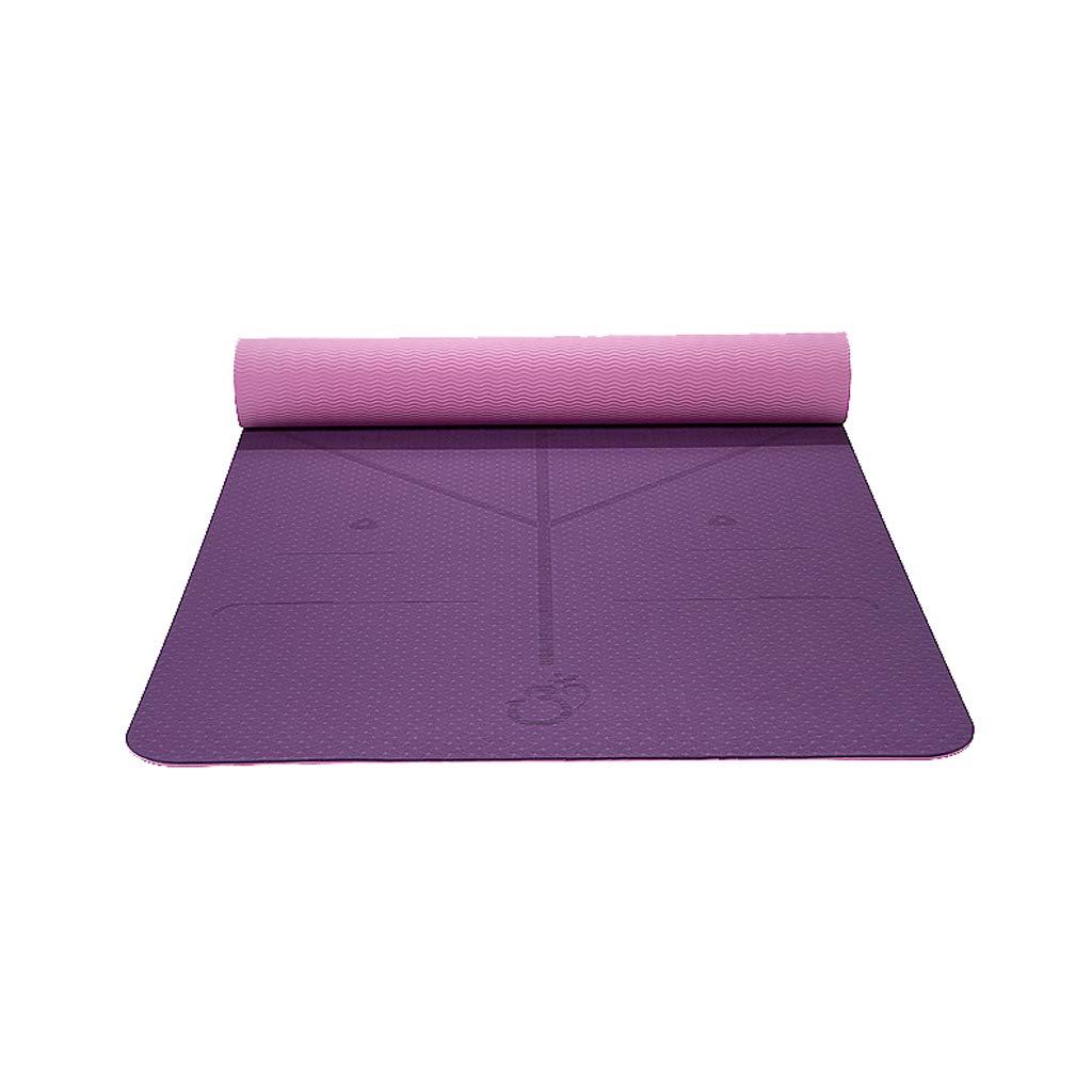 TPEヨガマット - 太め - 広げる - 長くする - 男性と女性 - 初心者 - ノンスリップ - ヨガマット B07J41D96F  Purple