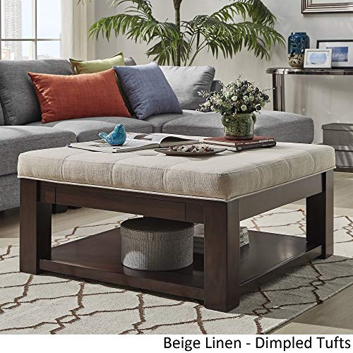Inspire Q Lennon Espresso Square Storage Ottoman Coffee Table by Classic Beige Linen/Dimpled Tufts