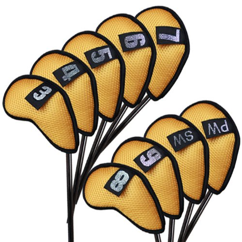 Andux Mesh Golf Iron Covers with Number Tag Yellow 9pcs/set Mt/w02, Outdoor Stuffs