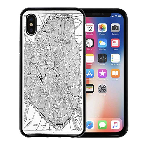 Semtomn Phone Case for Apple iPhone Xs case,Old Map of Paris France Vintage Engraving Antique Black City White for iPhone X Case,Rubber Border Protective Case,Black