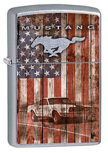 (Zippo Lighter: Ford Mustang and American Flag - Street Chrome 79623)