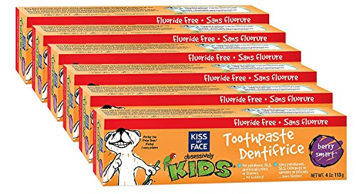 Kiss My Face Kids Fluoride Free Toothpaste, Berry Smart Tubes, 4 oz, Pack of 6