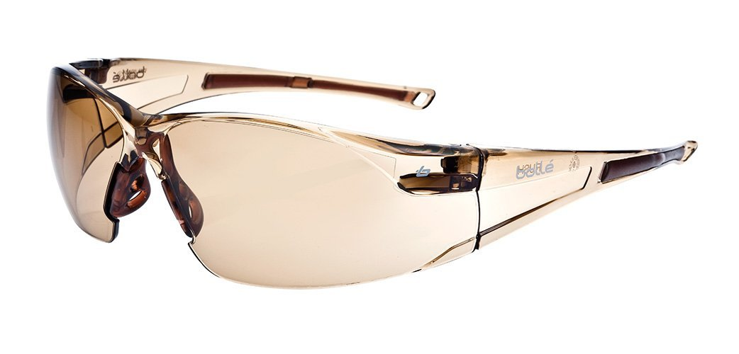 36b9b8f44e9 Bolle Safety RUSH Safety Glasses with Dark Amber Lens and Twilight Frame -  Safety Glasses - Amazon.com