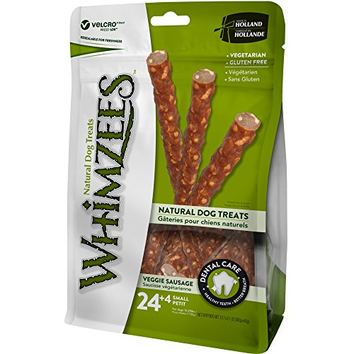 WHIMZEES Natural Grain Free Dental Chew, Small Veggie Sausage, 28 Count