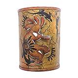 NOVICA Decorative Metal Candle Sconce, Brown, 'Kokopelli's Cave'