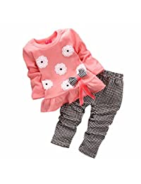 Orangeskycn Kids Girls Long Sleeve Flower Bow Shirt Plaid Pant Set Clothing
