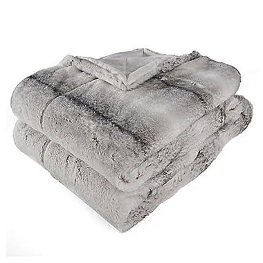 Berkshire Blanket Audrey Faux Fur Plush Throw, Ombre Stripe Grey